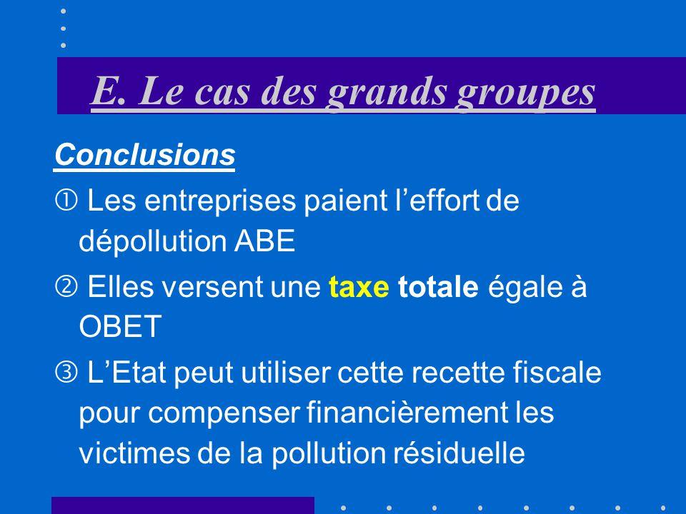 E. Le cas des grands groupes Taxe sur la pollution émise Au point A, les entreprises préfèrent dépolluer que de payer la taxe qui est plus élevée que