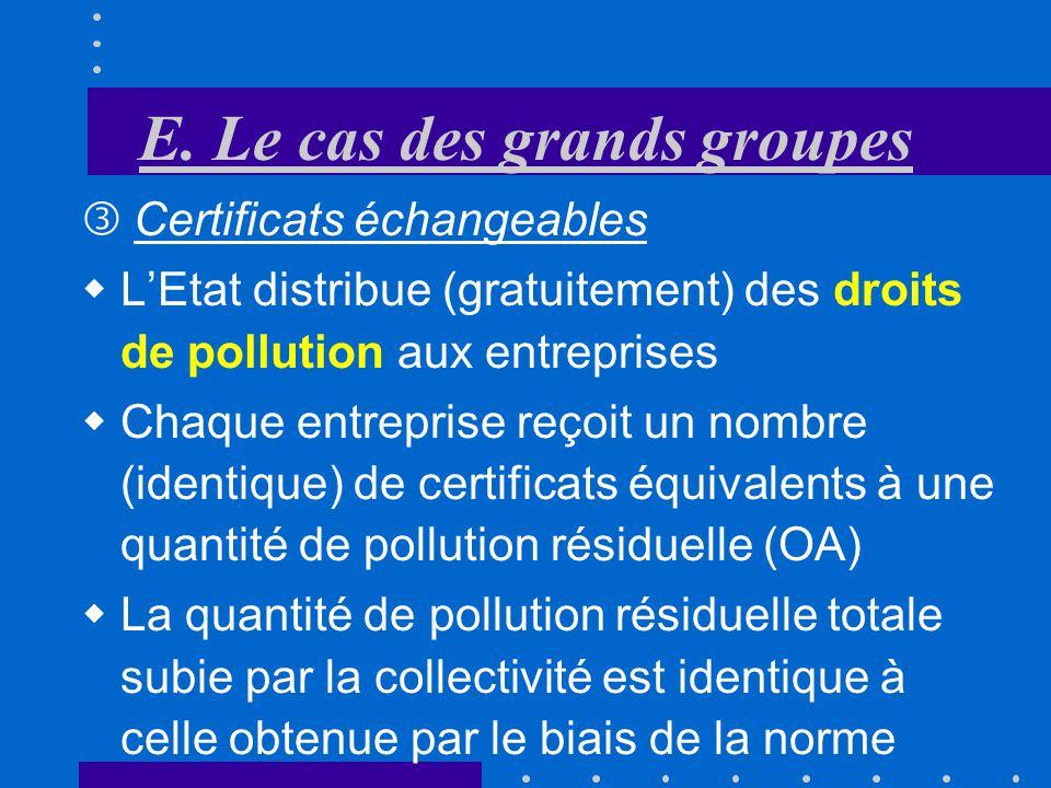 E. Le cas des grands groupes Norme de pollution Leffort de dépollution est réparti de manière très inégale. Cest lentreprise «II» qui supporte lessent