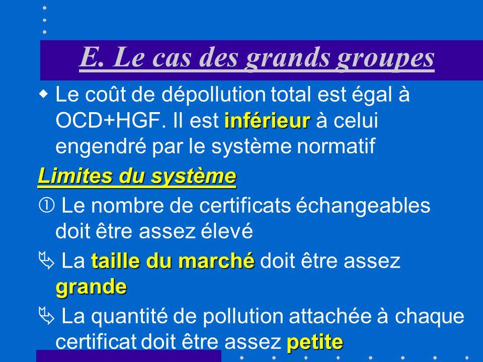 E. Le cas des grands groupes Lentreprise «II» paie ses certificats AIGH Grâce à ses nouveaux droits acquis, la firme «II» parvient à économiser AEGH L
