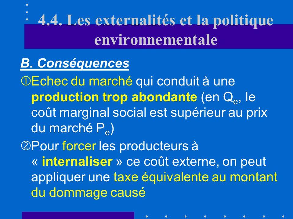 B. Conséquences des coûts externes Q P D O = Cm privé O = Cm privé PSPSPSPS PePePePe QeQeQeQe Cm social = Cm p + Cm e QSQSQSQS 4.4. Les externalités e