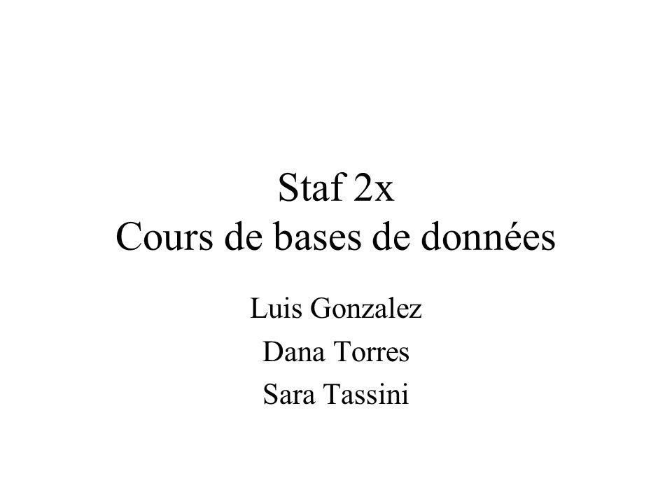 Staf 2x Cours de bases de données Luis Gonzalez Dana Torres Sara Tassini