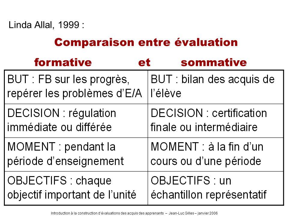 Introduction à la construction dévaluations des acquis des apprenants – Jean-Luc Gilles – janvier 2006 Comparaison entre évaluation formative et sommative Linda Allal, 1999 :