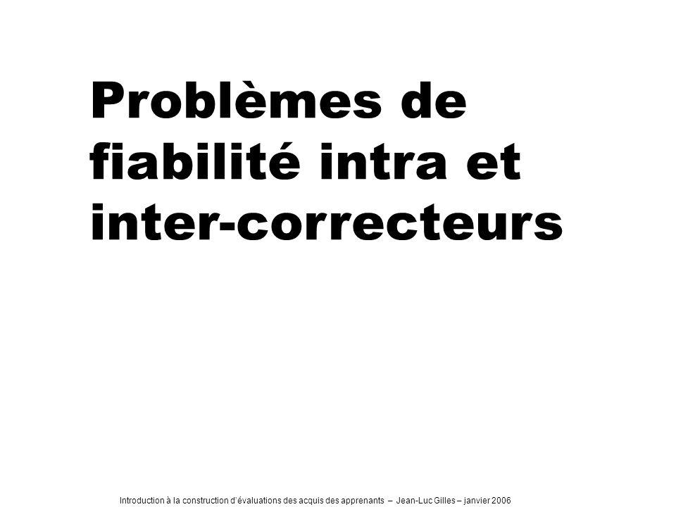 Introduction à la construction dévaluations des acquis des apprenants – Jean-Luc Gilles – janvier 2006 Problèmes de fiabilité intra et inter-correcteurs