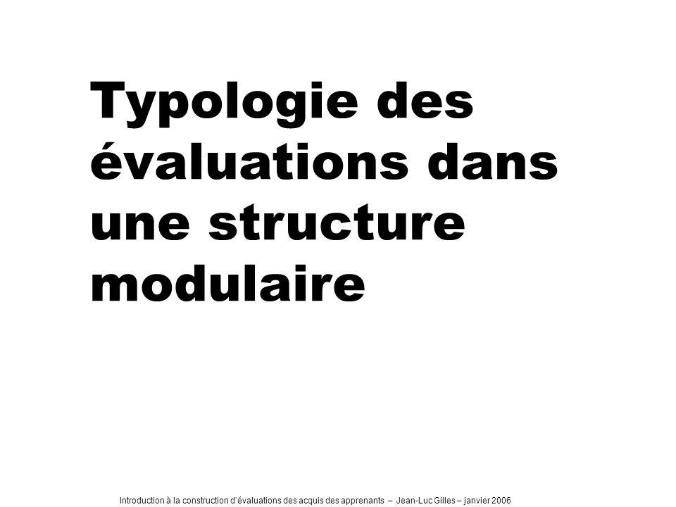 Introduction à la construction dévaluations des acquis des apprenants – Jean-Luc Gilles – janvier 2006 Typologie des évaluations dans une structure modulaire