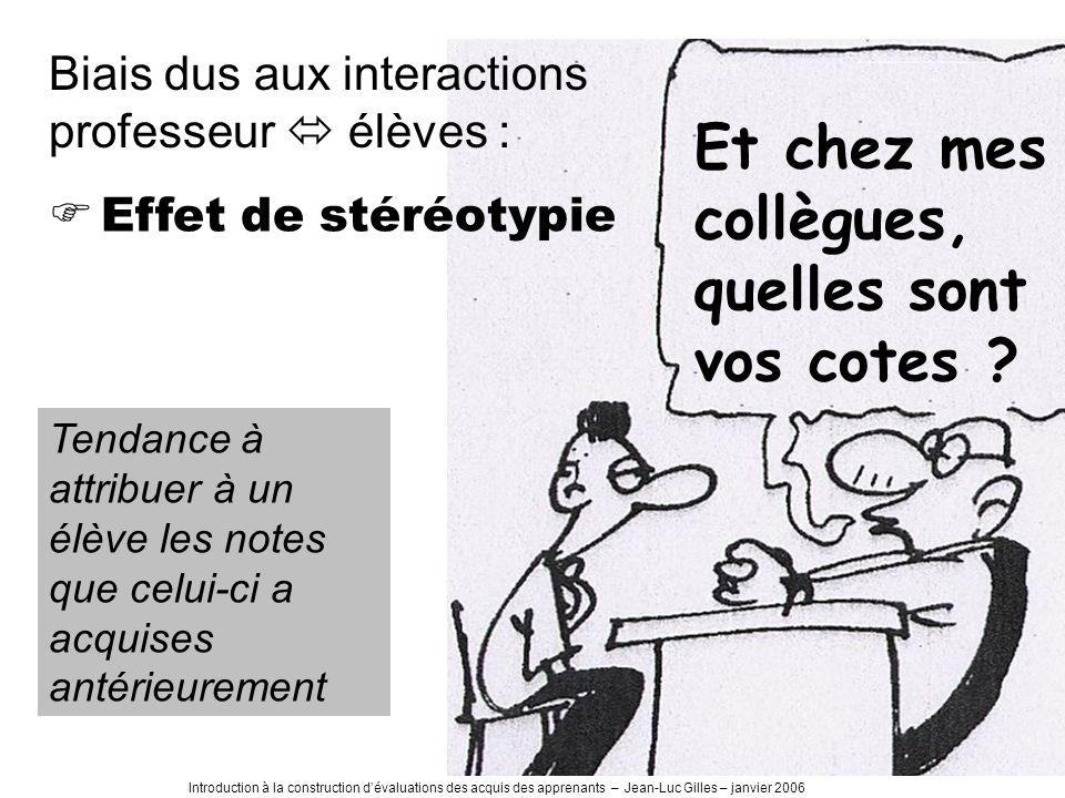 Introduction à la construction dévaluations des acquis des apprenants – Jean-Luc Gilles – janvier 2006 Effet de stéréotypie Tendance à attribuer à un