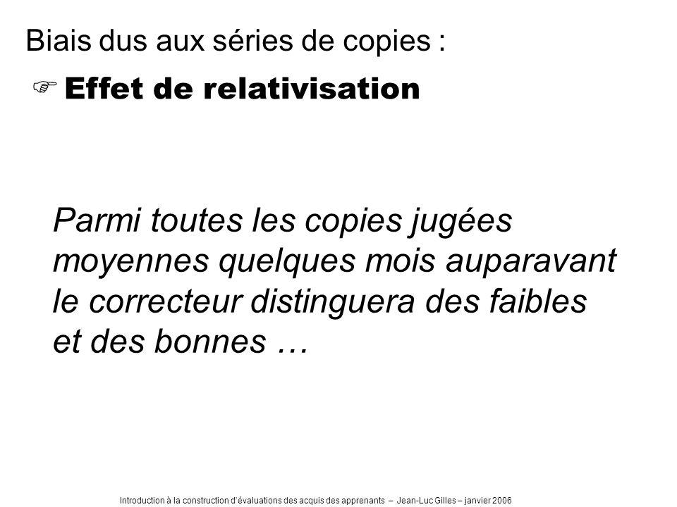 Introduction à la construction dévaluations des acquis des apprenants – Jean-Luc Gilles – janvier 2006 Effet de relativisation Parmi toutes les copies