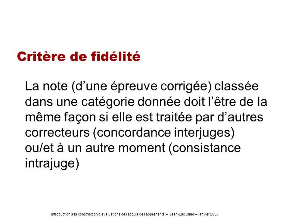 Introduction à la construction dévaluations des acquis des apprenants – Jean-Luc Gilles – janvier 2006 Critère de fidélité La note (dune épreuve corri