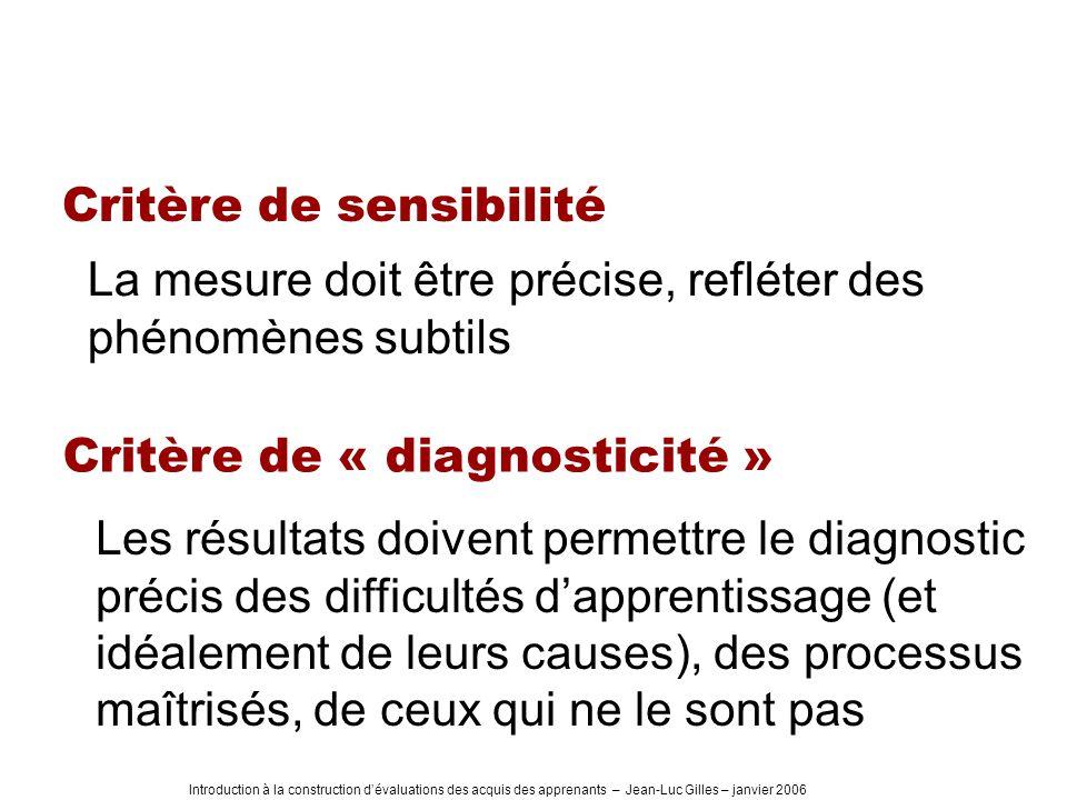 Introduction à la construction dévaluations des acquis des apprenants – Jean-Luc Gilles – janvier 2006 Critère de sensibilité La mesure doit être préc