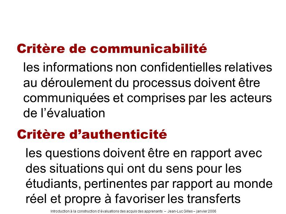 Introduction à la construction dévaluations des acquis des apprenants – Jean-Luc Gilles – janvier 2006 Critère de communicabilité les informations non