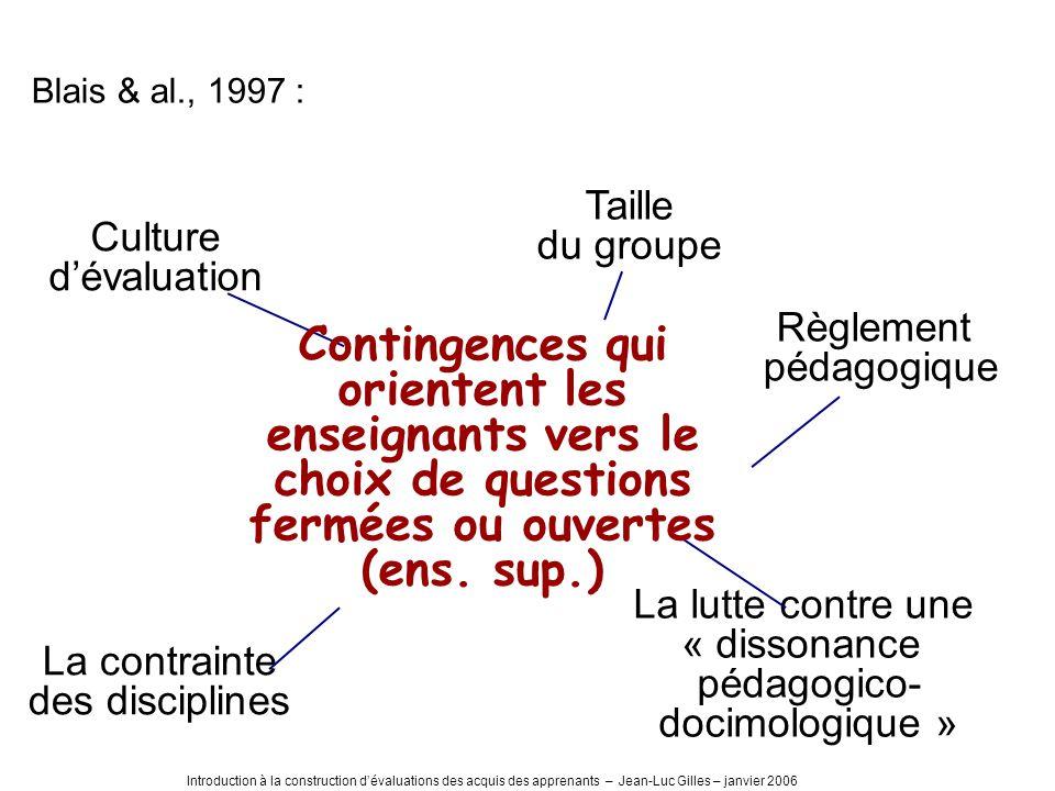 Introduction à la construction dévaluations des acquis des apprenants – Jean-Luc Gilles – janvier 2006 Culture dévaluation Taille du groupe Règlement