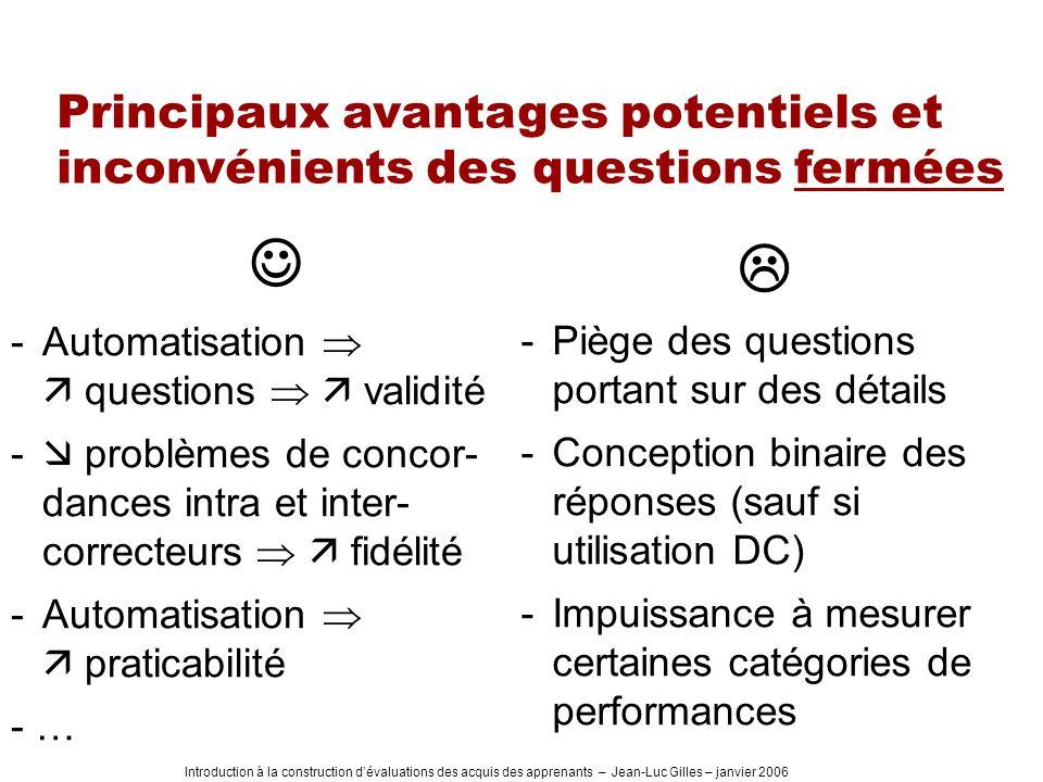 Introduction à la construction dévaluations des acquis des apprenants – Jean-Luc Gilles – janvier 2006 Principaux avantages potentiels et inconvénient