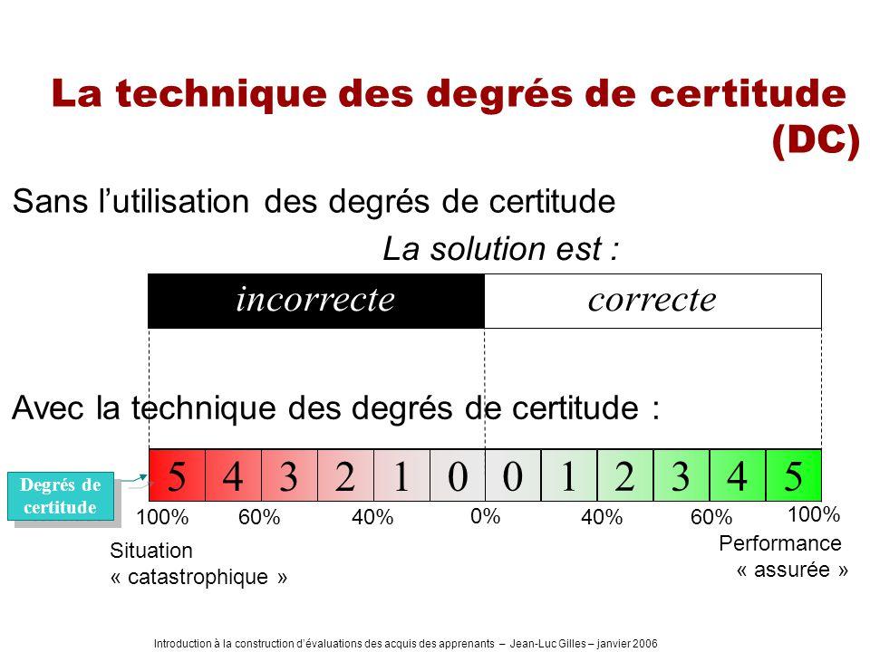 Introduction à la construction dévaluations des acquis des apprenants – Jean-Luc Gilles – janvier 2006 La technique des degrés de certitude (DC) Sans