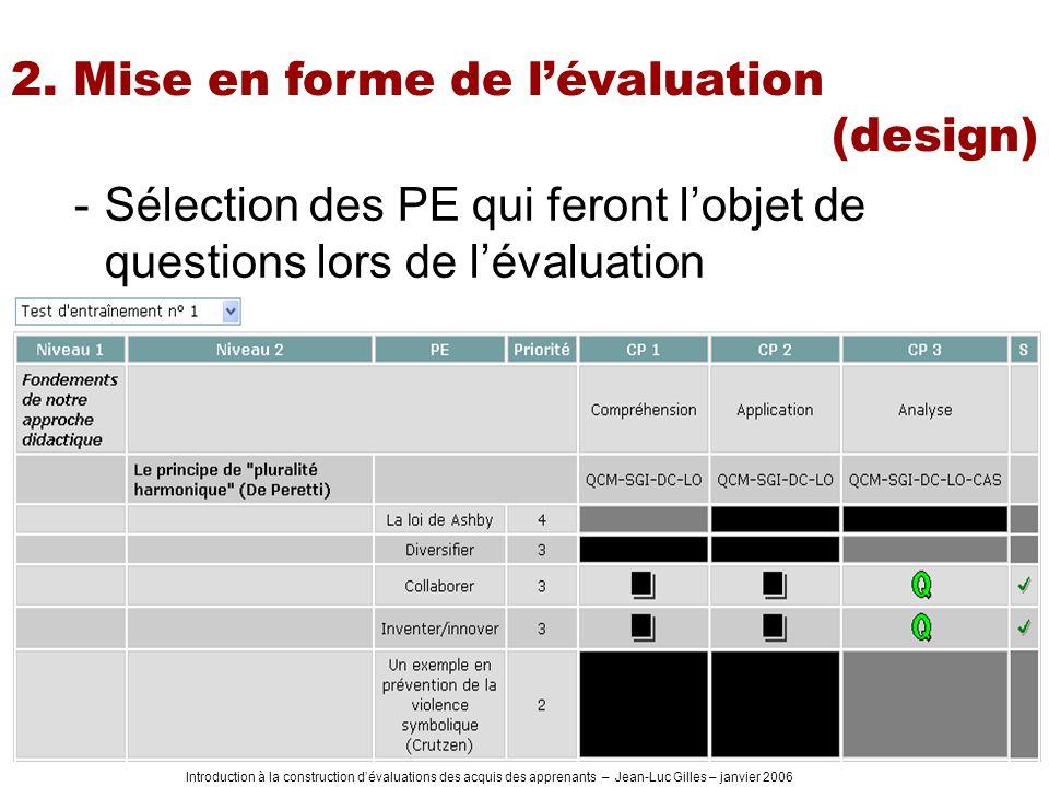 Introduction à la construction dévaluations des acquis des apprenants – Jean-Luc Gilles – janvier 2006 -Sélection des PE qui feront lobjet de questions lors de lévaluation 2.