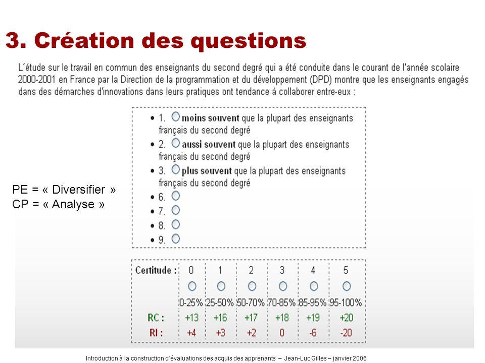 Introduction à la construction dévaluations des acquis des apprenants – Jean-Luc Gilles – janvier 2006 3. Création des questions PE = « Diversifier »
