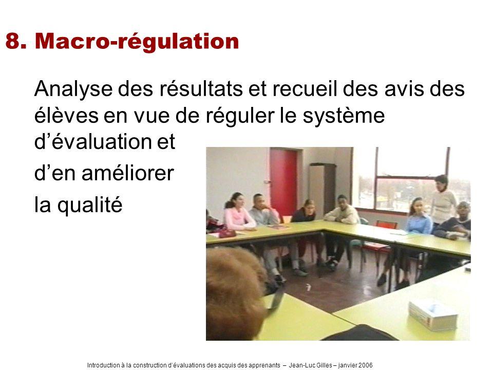 Introduction à la construction dévaluations des acquis des apprenants – Jean-Luc Gilles – janvier 2006 8. Macro-régulation Analyse des résultats et re