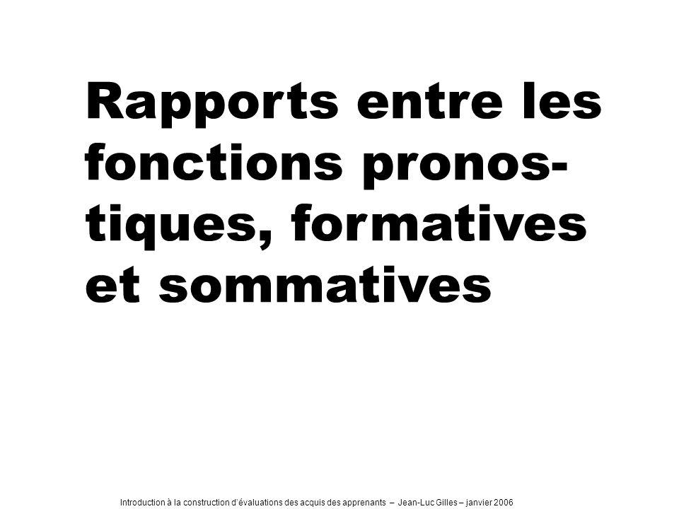 Introduction à la construction dévaluations des acquis des apprenants – Jean-Luc Gilles – janvier 2006 Rapports entre les fonctions pronos- tiques, formatives et sommatives