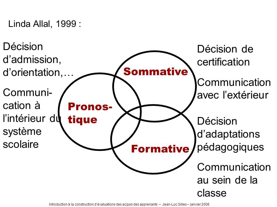 Introduction à la construction dévaluations des acquis des apprenants – Jean-Luc Gilles – janvier 2006 Linda Allal, 1999 : Pronos- tique Sommative For