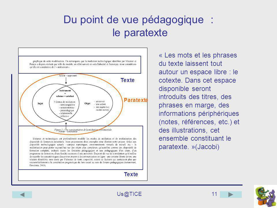 Us@TICE11 Du point de vue pédagogique : le paratexte « Les mots et les phrases du texte laissent tout autour un espace libre : le cotexte. Dans cet es