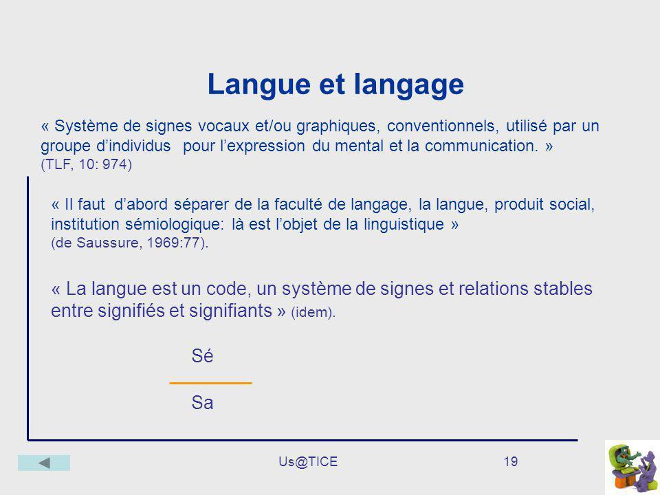 Us@TICE19 Langue et langage « Il faut dabord séparer de la faculté de langage, la langue, produit social, institution sémiologique: là est lobjet de l