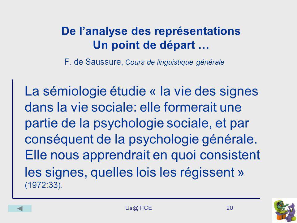 Us@TICE20 De lanalyse des représentations Un point de départ … F. de Saussure, Cours de linguistique générale La sémiologie étudie « la vie des signes
