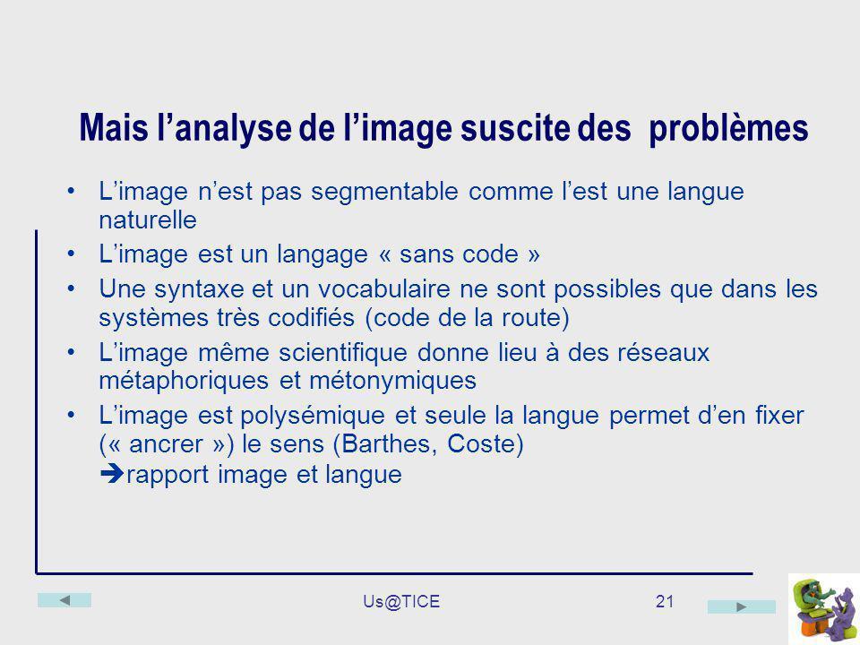 Us@TICE21 Mais lanalyse de limage suscite des problèmes Limage nest pas segmentable comme lest une langue naturelle Limage est un langage « sans code