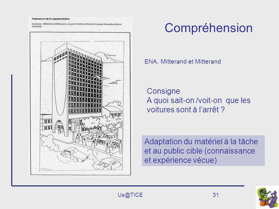Us@TICE31 Compréhension Adaptation du matériel à la tâche et au public cible (connaissance et expérience vécue) ENA, Mitterand et Mitterand Consigne A