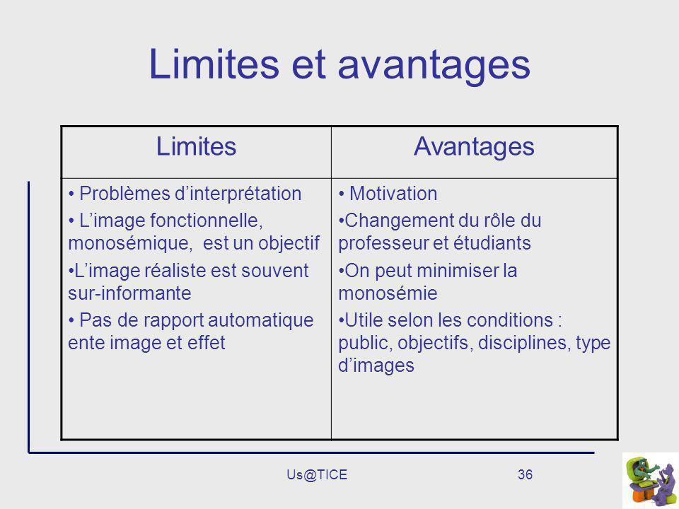 Us@TICE36 Limites et avantages LimitesAvantages Problèmes dinterprétation Limage fonctionnelle, monosémique, est un objectif Limage réaliste est souve