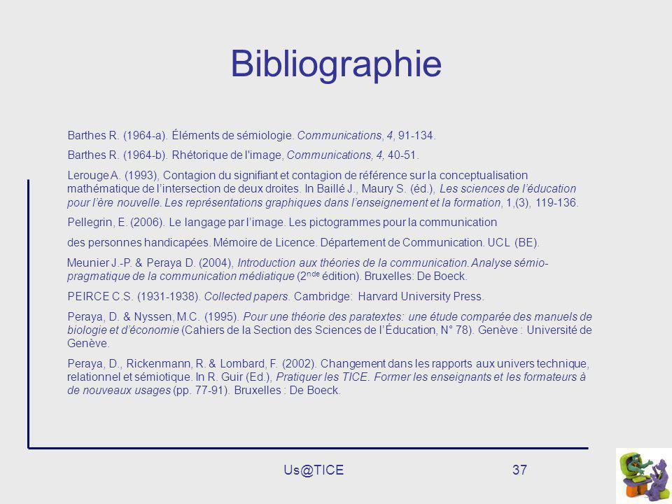 Us@TICE37 Bibliographie Barthes R. (1964-a). Éléments de sémiologie. Communications, 4, 91-134. Barthes R. (1964-b). Rhétorique de l'image, Communicat
