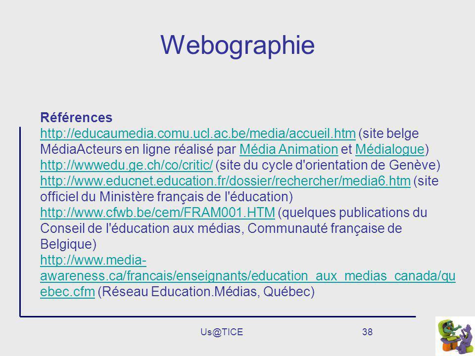 Us@TICE38 Webographie Références http://educaumedia.comu.ucl.ac.be/media/accueil.htmhttp://educaumedia.comu.ucl.ac.be/media/accueil.htm (site belge Mé