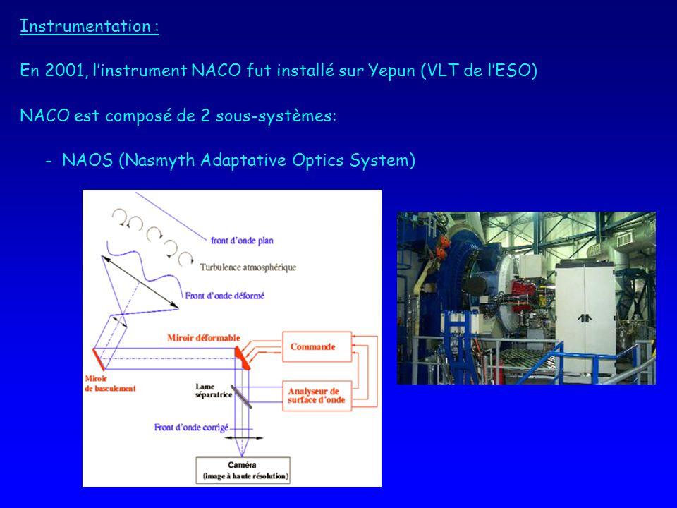 Instrumentation : En 2001, linstrument NACO fut installé sur Yepun (VLT de lESO) NACO est composé de 2 sous-systèmes: - NAOS (Nasmyth Adaptative Optics System)