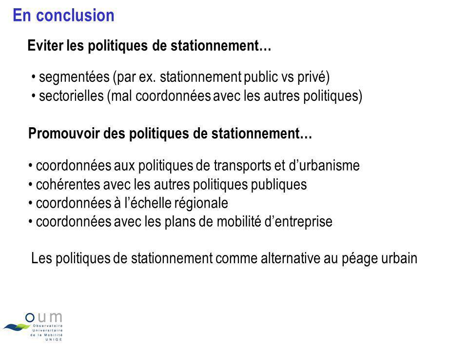 En conclusion Eviter les politiques de stationnement… segmentées (par ex. stationnement public vs privé) sectorielles (mal coordonnées avec les autres