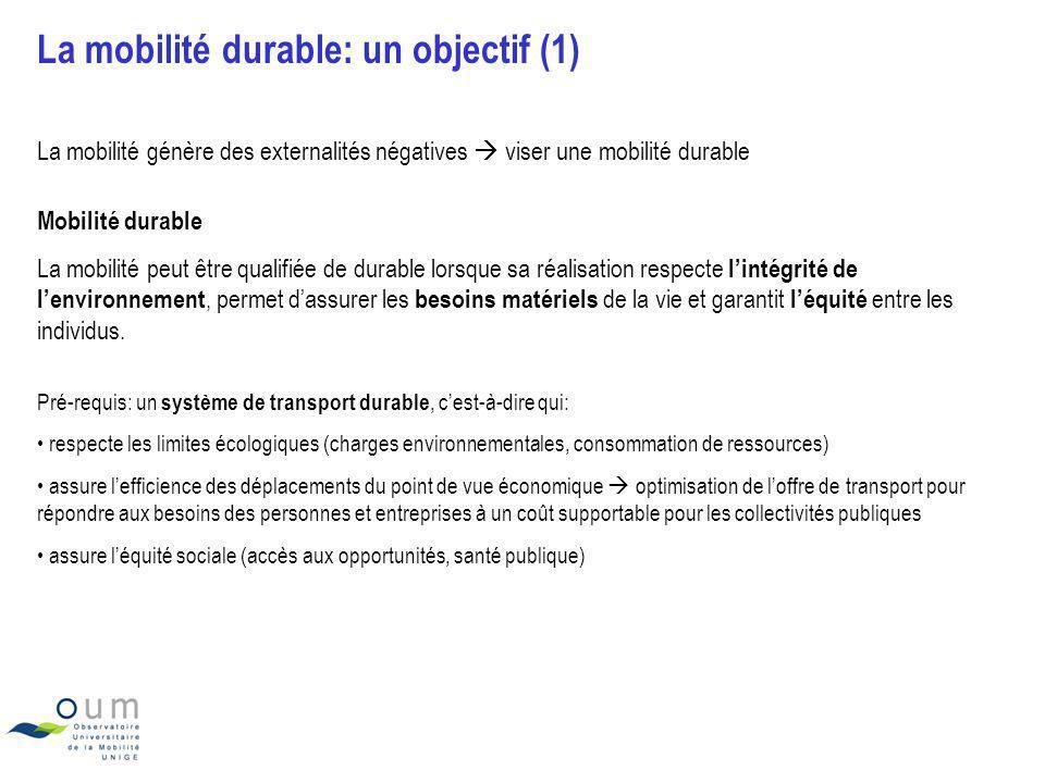 La mobilité durable: un objectif (2) Source: ARE et Pini G., Université de Genève Des enjeux contradictoires à concilier Un équilibre à trouver, des compromis à faire (notamment politiques)