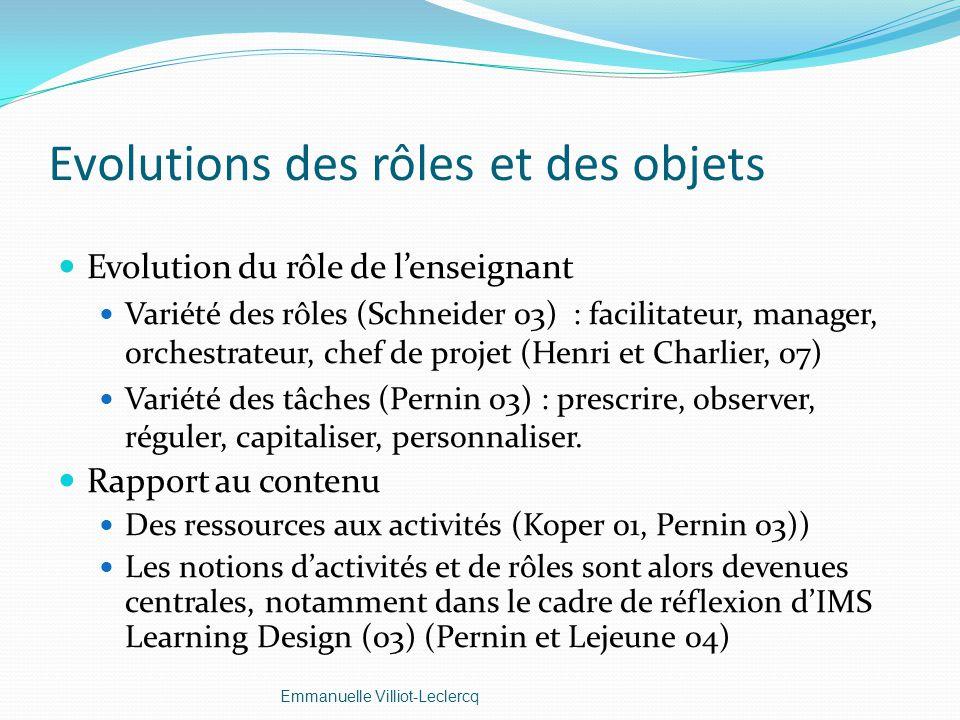 Evolutions des rôles et des objets Evolution du rôle de lenseignant Variété des rôles (Schneider 03) : facilitateur, manager, orchestrateur, chef de p