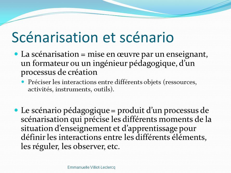 Scénarisation et scénario La scénarisation = mise en œuvre par un enseignant, un formateur ou un ingénieur pédagogique, dun processus de création Préc