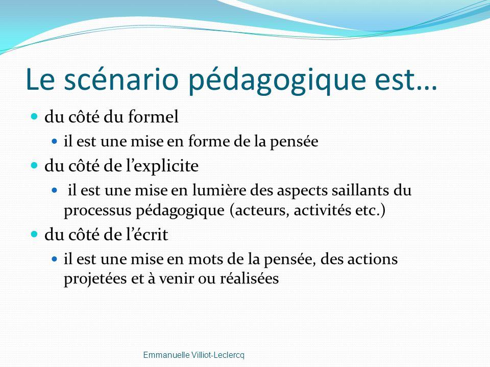 Le scénario pédagogique est… du côté du formel il est une mise en forme de la pensée du côté de lexplicite il est une mise en lumière des aspects sail