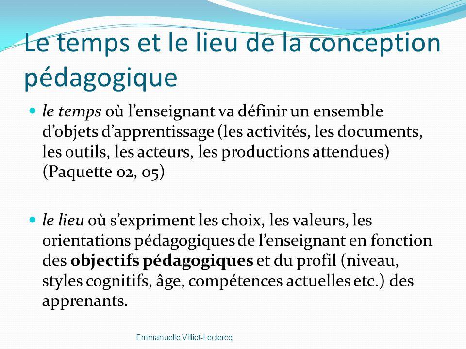 Le temps et le lieu de la conception pédagogique le temps où lenseignant va définir un ensemble dobjets dapprentissage (les activités, les documents,