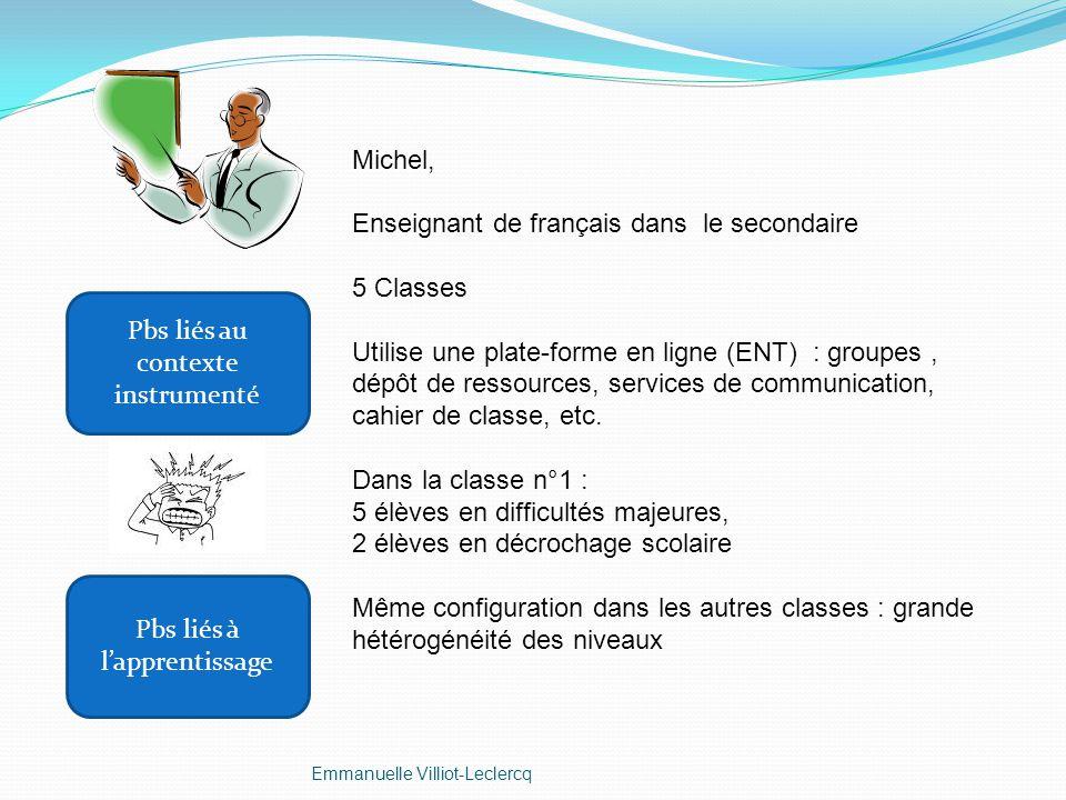 Michel, Enseignant de français dans le secondaire 5 Classes Utilise une plate-forme en ligne (ENT) : groupes, dépôt de ressources, services de communi