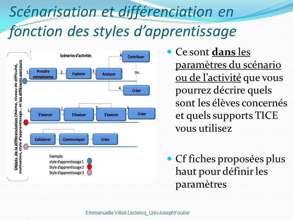 Scénarisation et différenciation en fonction des styles dapprentissage Emmanuelle Villiot-Leclercq_UnivJosephFourier Ce sont dans les paramètres du sc