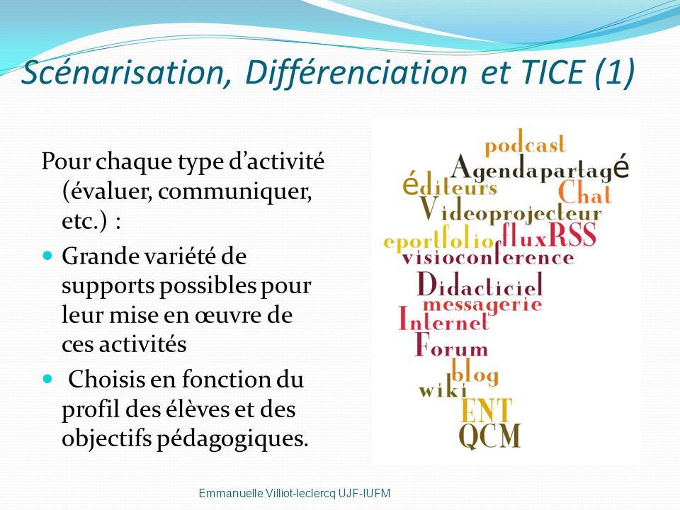 Scénarisation, Différenciation et TICE (1) Emmanuelle Villiot-leclercq UJF-IUFM Pour chaque type dactivité (évaluer, communiquer, etc.) : Grande varié