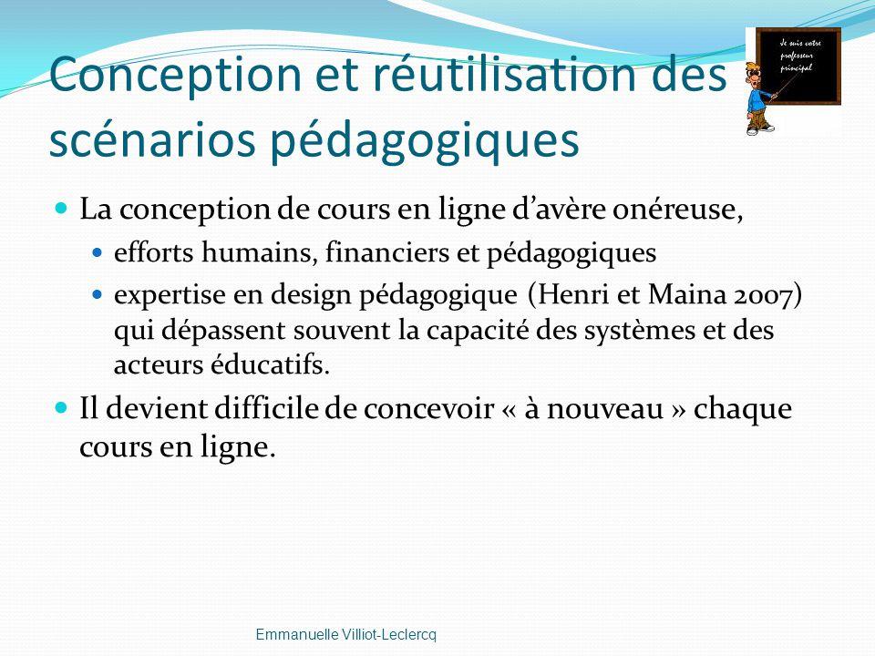Conception et réutilisation des scénarios pédagogiques La conception de cours en ligne davère onéreuse, efforts humains, financiers et pédagogiques ex