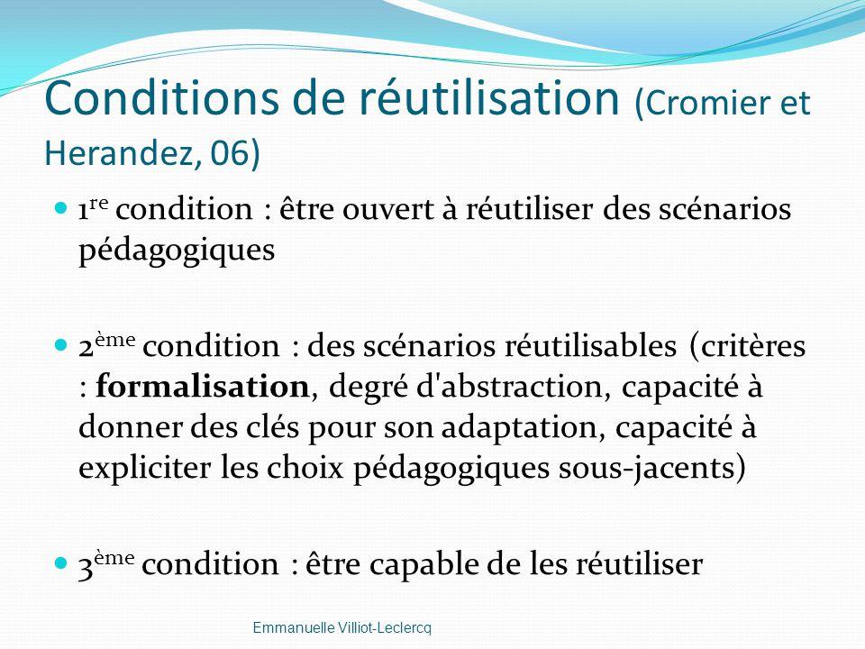 Conditions de réutilisation (Cromier et Herandez, 06) 1 re condition : être ouvert à réutiliser des scénarios pédagogiques 2 ème condition : des scéna