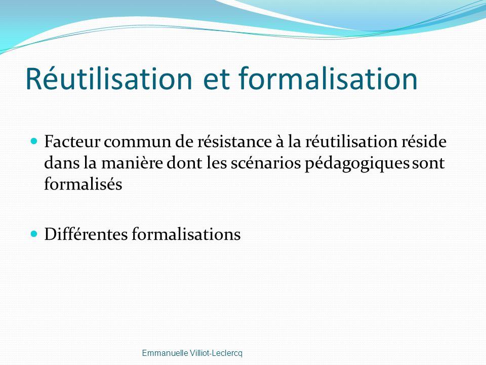 Réutilisation et formalisation Facteur commun de résistance à la réutilisation réside dans la manière dont les scénarios pédagogiques sont formalisés