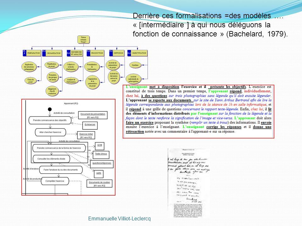 Derrière ces formalisations =des modèles …. « [intermédiaire ] à qui nous déléguons la fonction de connaissance » (Bachelard, 1979).
