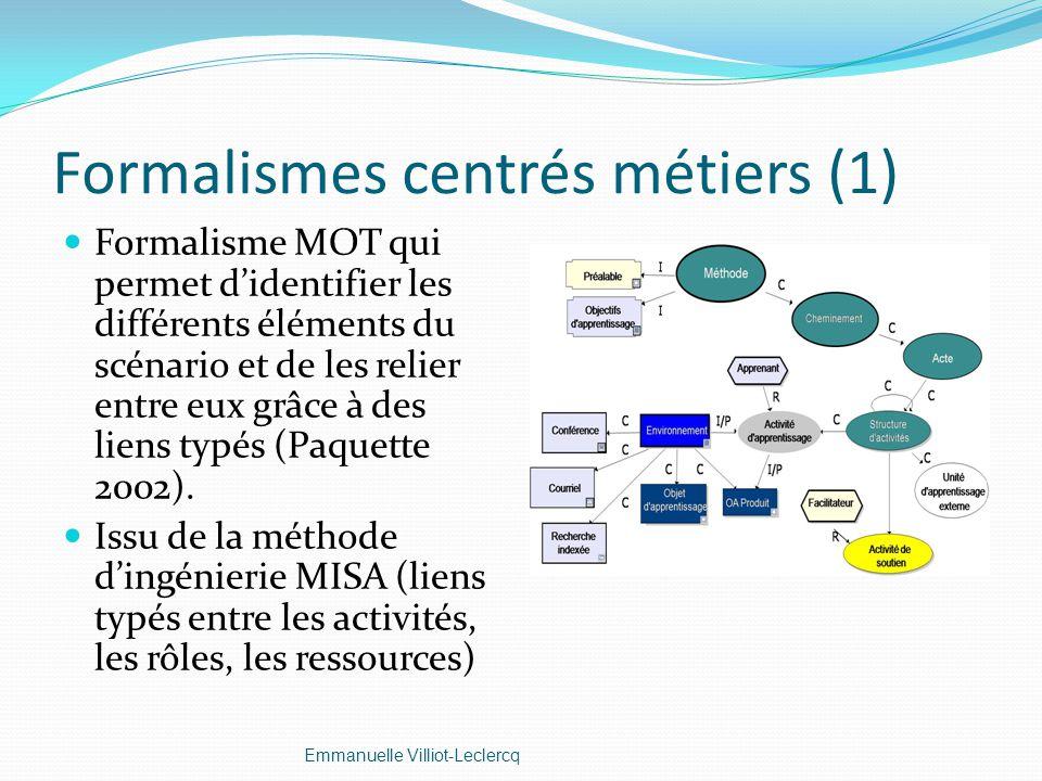 Formalismes centrés métiers (1) Formalisme MOT qui permet didentifier les différents éléments du scénario et de les relier entre eux grâce à des liens