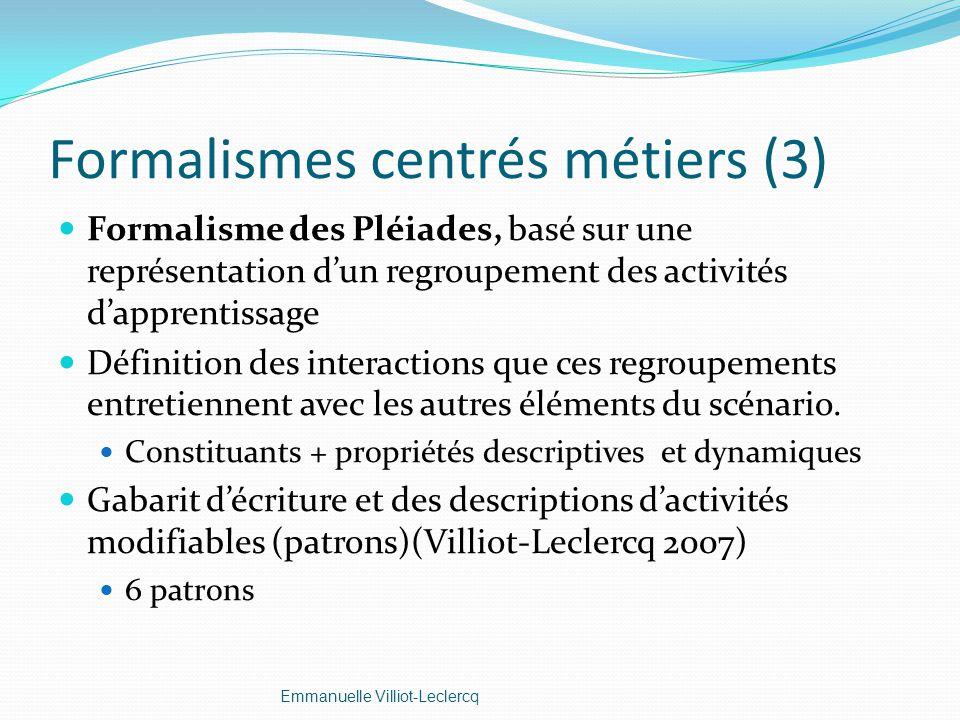 Formalismes centrés métiers (3) Formalisme des Pléiades, basé sur une représentation dun regroupement des activités dapprentissage Définition des inte