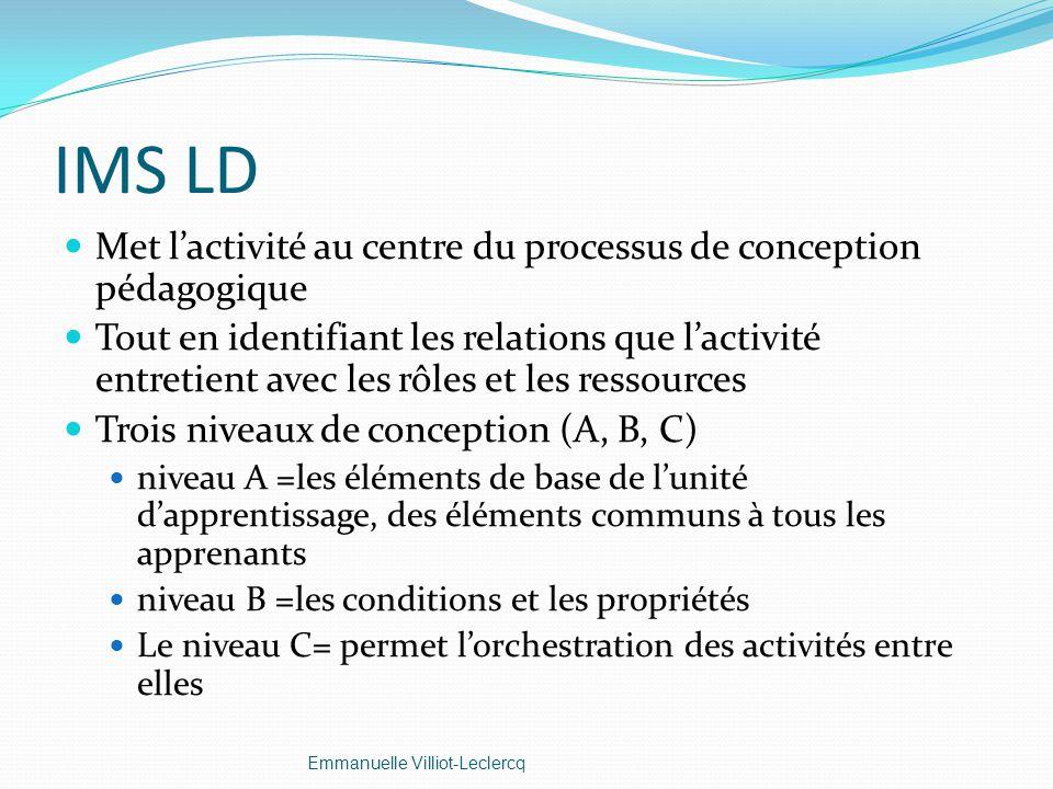 IMS LD Met lactivité au centre du processus de conception pédagogique Tout en identifiant les relations que lactivité entretient avec les rôles et les