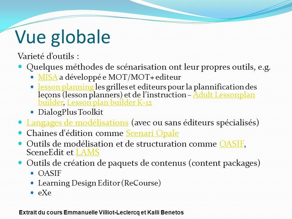 Vue globale Varieté doutils : Quelques méthodes de scénarisation ont leur propres outils, e.g. MISA a développé e MOT/MOT+ editeur MISA lesson plannin