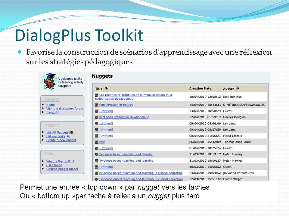 DialogPlus Toolkit Favorise la construction de scénarios dapprentissage avec une réflexion sur les stratégies pédagogiques Permet une entrée « top dow