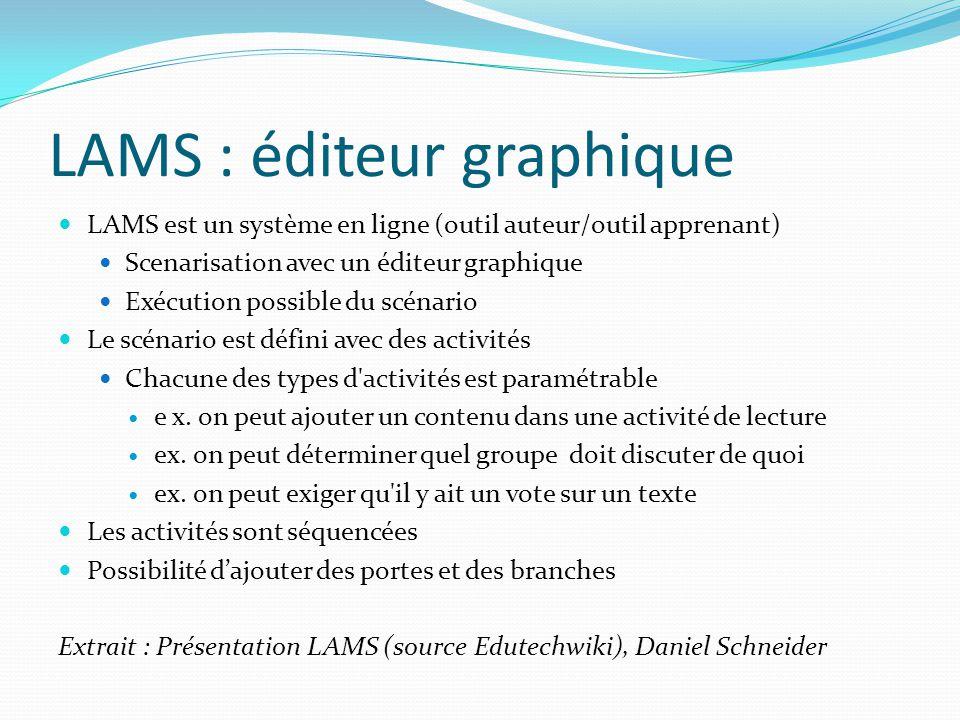 LAMS : éditeur graphique LAMS est un système en ligne (outil auteur/outil apprenant) Scenarisation avec un éditeur graphique Exécution possible du scé