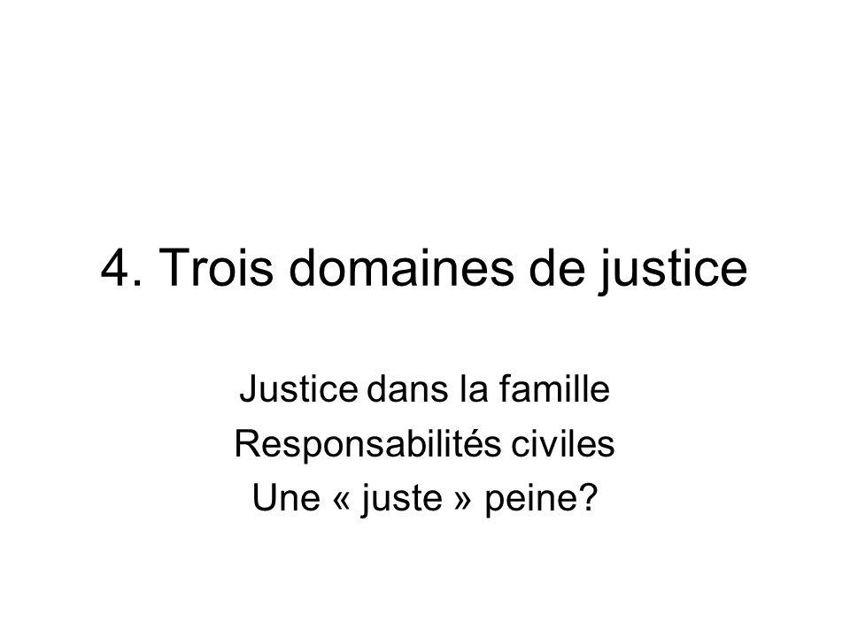 4. Trois domaines de justice Justice dans la famille Responsabilités civiles Une « juste » peine